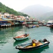 Small port on an island in China - Stock Photo