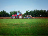 Tractor on the field with seagulls — Stock Photo