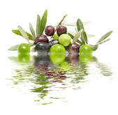 Olives and water — Stock Photo