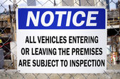 Vehicle Inspection Sign — Stock Photo