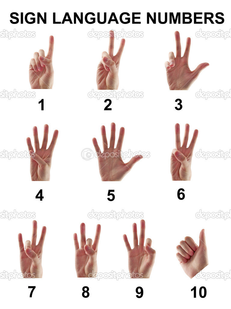 Sign language numbers from one to ten on a white background — Stock Photo #6375514