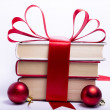 Gift wrapped books for Christmas — Stok fotoğraf