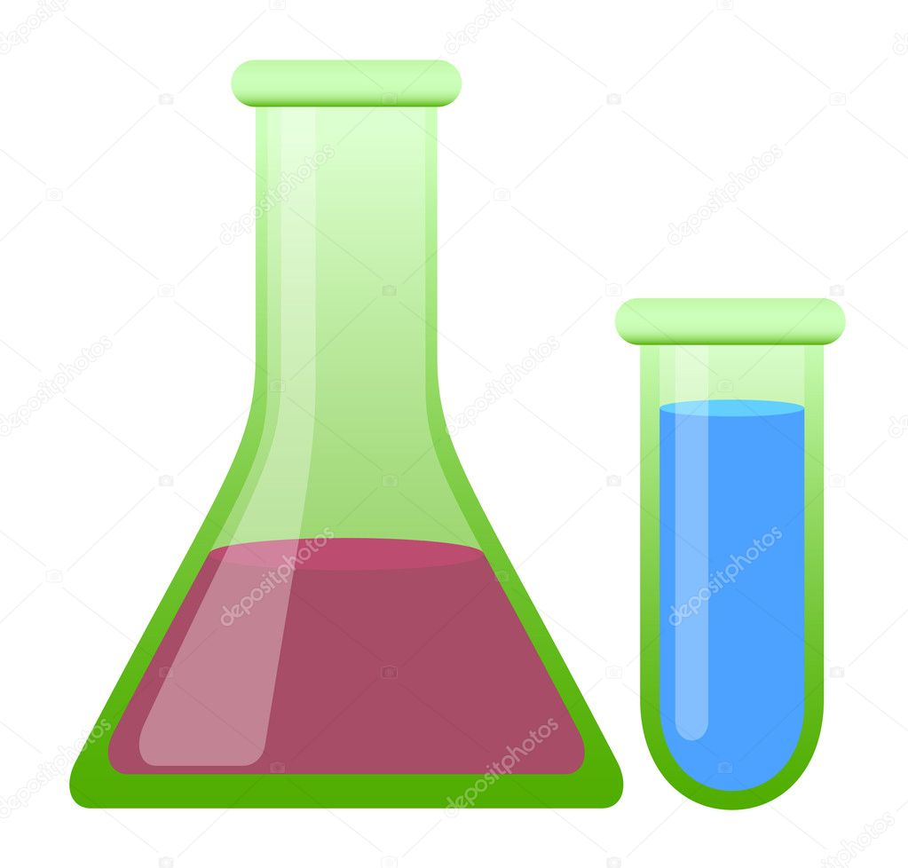 Laboratory bottles – test tubes on white background  — Stock Vector #6674149
