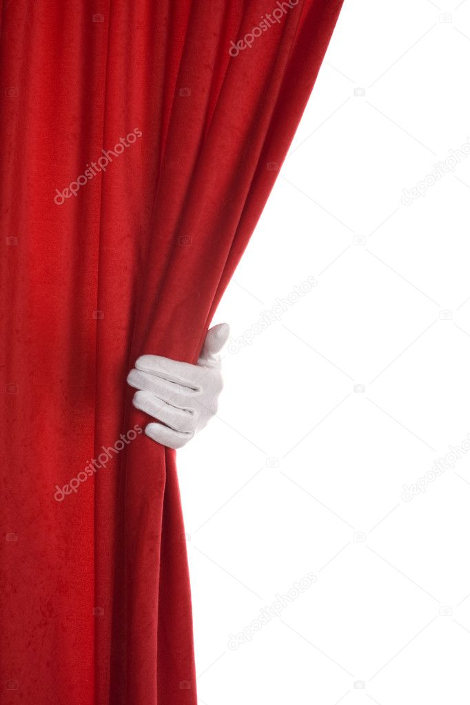 Red Curtain hand over white  — Stock Photo #6438407