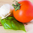 Tomato, garlic and basil — Stock Photo #6374893