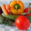 Raw vegetables on the tablecloth — Stock Photo