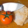 Stock Photo: Smoked ricottand tomato with cheese knife