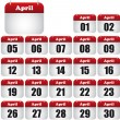 April calendar — Stok Vektör