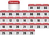 února kalendář — Stock vektor