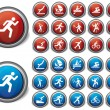 Set sport icons blue and red - Stock Vector
