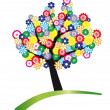 Tree stylized with flowers - Imagen vectorial
