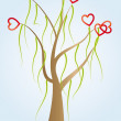 Tree with red hearts — Stock Vector