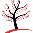 Music note tree — Stock Vector