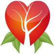 Tree in heart with leafs - Imagen vectorial