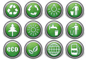 Set eco green icons — Stock Vector