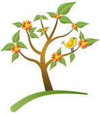 Tree with bird and flower — Stock Vector