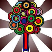 Drzewo z kolorowy koła do liści — Wektor stockowy