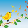 Yellow bird song — Stock Vector