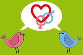 Rosa och blå fågel med kärlek — Stockvektor