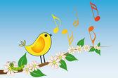 Yellow bird song — Stock Vector