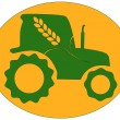Green tractor - Stock Vector