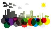 Skyline di inquinamento e verde — Vettoriale Stock