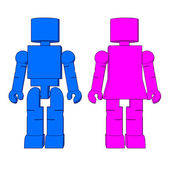Block Figure Man & Woman — Stock Photo