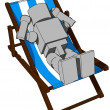 Block Figure On Beach Chair — Stok Fotoğraf #6659113