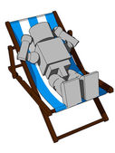 Block Figure On Beach Chair — Stock Photo