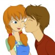 Teenage boy trying to kiss red girl — Stock Vector