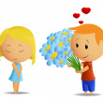 Cartoon boy present flowers to girl — Stock Vector