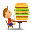 Men going to eat very big hamburger — Stock Vector