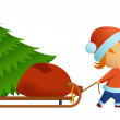 Little men in christmas hat carry tree — Stock Vector