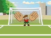 Cartoon soccer goalkeeper on gate — Stock Vector