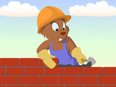 Beaver bricklayer build the brick wall — Stock Vector