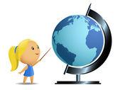 Schoolgirl student point blue big globe — Stock Vector