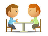 Two businessmen talk at the table — Stock Vector