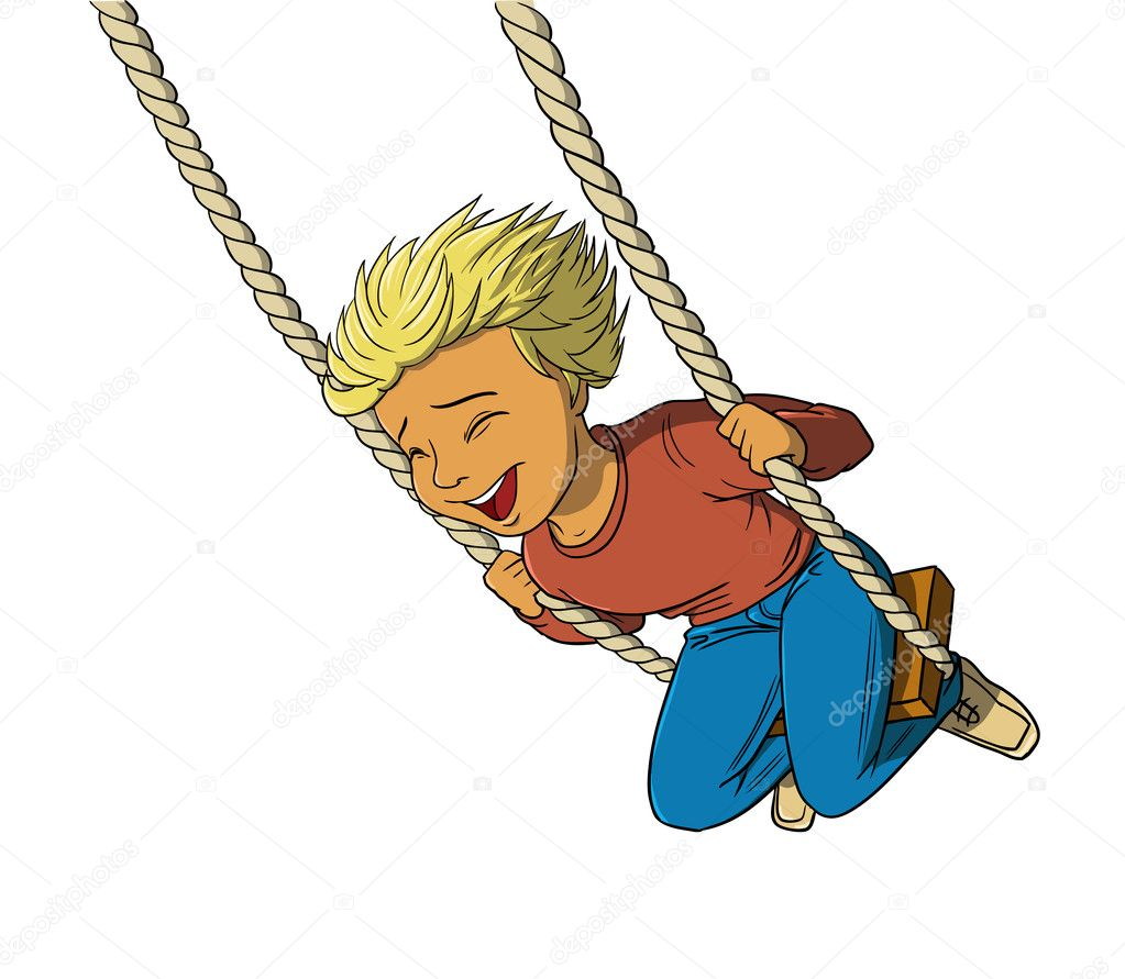how to draw a boy on a swing