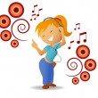 Dancing girl listen music in headphone — Stock Vector #6420649
