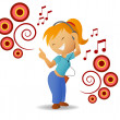 Dancing girl listen music in headphone — Stock Vector
