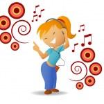 Dancing girl listen music in headphone — Stock Vector #6420649