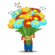 Men who hold big bouquet of beautiful flowers — Stock Vector