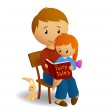 Ddaddy and his little daughter on his knee read the book — Stock Vector