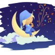 Fairy boy sitting on the moon playing music. — Stock Vector
