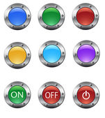 Renkli cam metal düğme kümesi — Stok Vektör