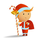 Little santa with staff and bag — Stock Vector