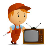 Technician with srewdriver who staying rest at tvset — Stock Vector