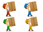Set delivery boy many-coloures uniform, with box. — Stock Vector