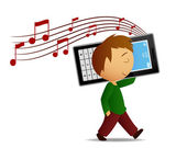 Young cartoon men walk and listen music with big cell phone. — Stock Vector