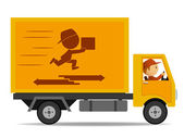 Track delivery with driver and logo on board. — Stock Vector